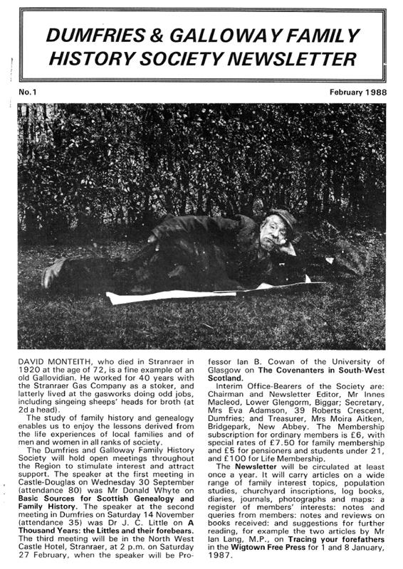 DGFHS Newsletter Vol. 001 198802
