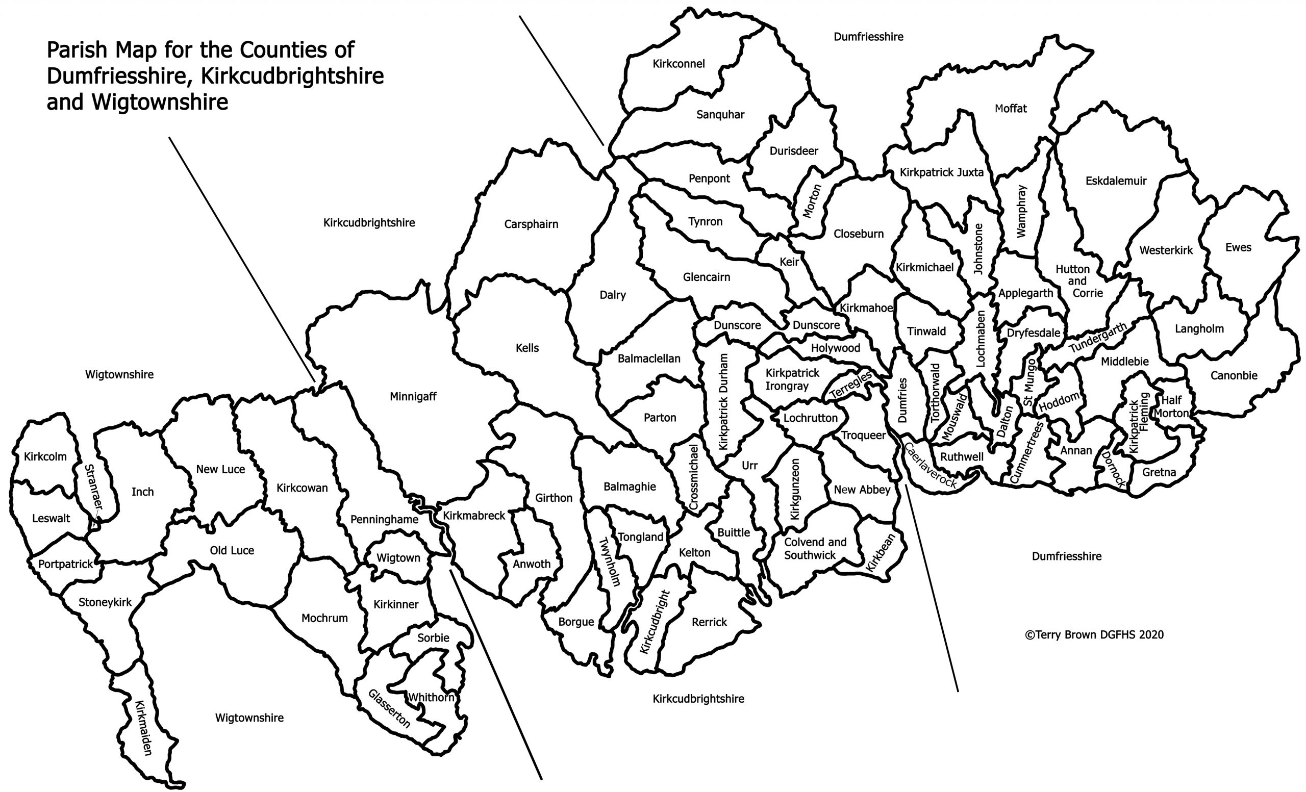 Parish Map of Dumfries and Galloway