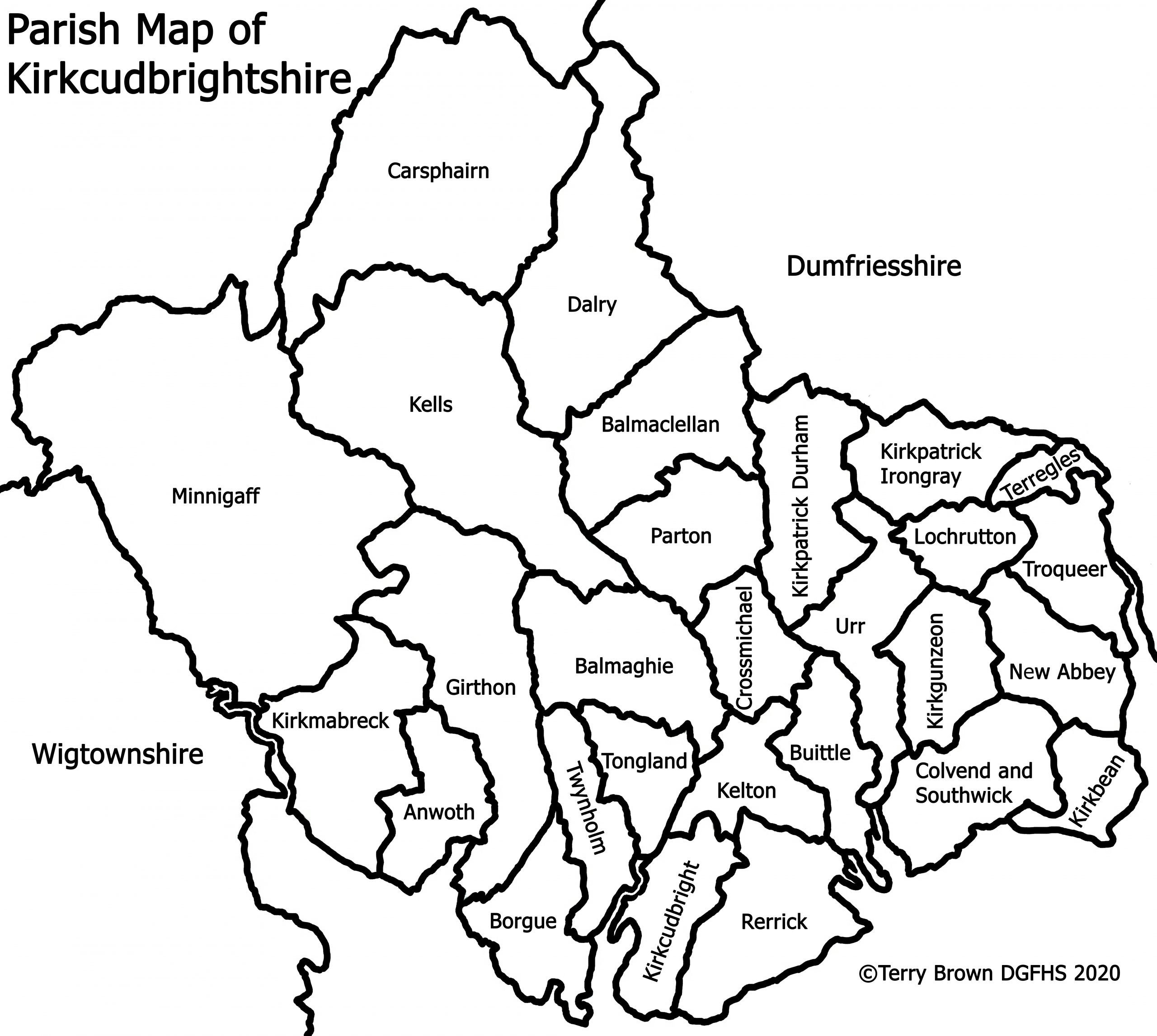Parish Map of Kirkcudbrightshire